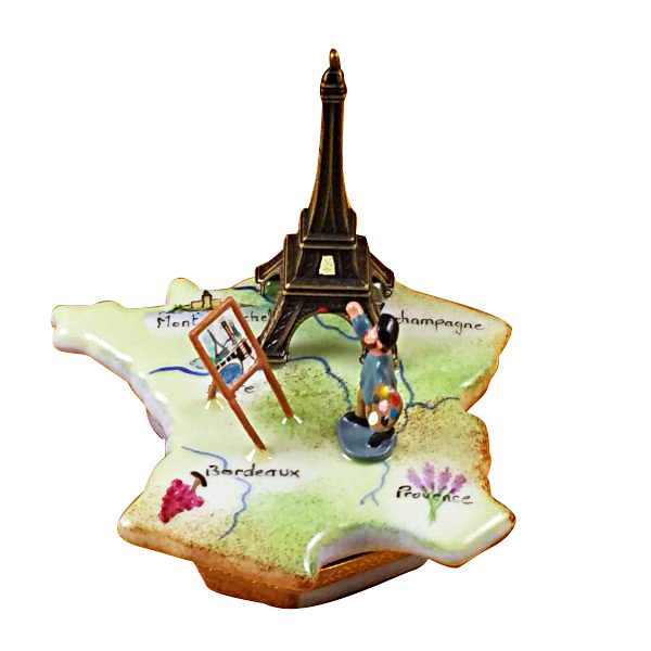 Map Of France Eiffel Tower.Map Of France With Monet Eiffel Tower Rochard